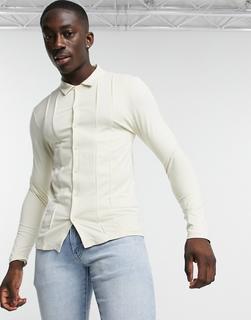 ASOS DESIGN - Elegantes, langärmliges Hemd aus Jersey in Beige mit Paspelierung