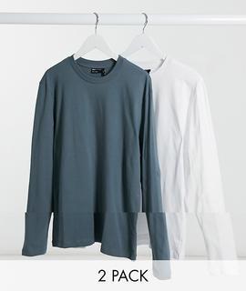 ASOS DESIGN - Langärmlige Shirts mit Rundhalsausschnitt im 2er-Pack-Mehrfarbig