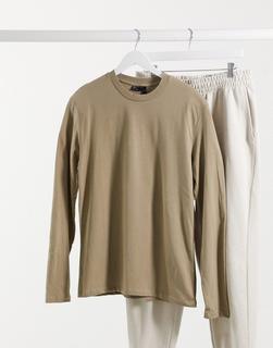 ASOS DESIGN - Langärmliges Shirt mit Rundhalsausschnitt, in Beige