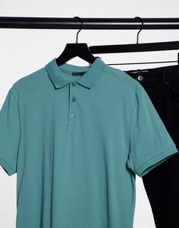 ASOS DESIGN - Polohemd aus Bio-Baumwolle in Hellblau