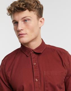 New Look - Rostrotes Hemd aus Twill-Braun