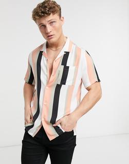 Topman - Gestreiftes Hemd mit Reverskragen in Pfirsich-Mehrfarbig