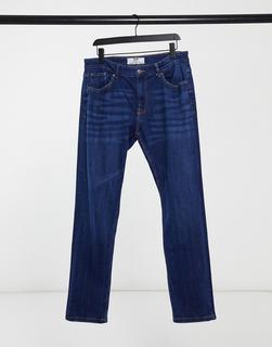 Bershka - Enge Jeans in Mittelblau