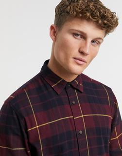 Jack & Jones - Originals – Burgunderrotes, kariertes Hemd aus gebürstetem Material