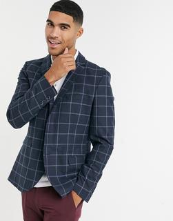 Selected Homme - Schmal geschnittene Anzugjacke in Marineblau mit Fensterkaros