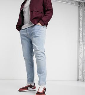 Topman - Big & Tall – Jeans mit engem Schnitt in ausgebleichter Waschung-Blau