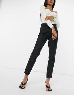 Femme Luxe - Lässige, gerade geschnittene Jeans in Schwarz
