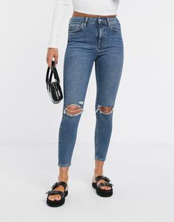 Topshop - Jamie – Enge Jeans in grüner Waschung