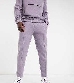ASOS DESIGN - Tall – Elegante, schmal zulaufende Jogginghose mit festem Saum, Biesen und angerauter Woll-Optik, Kombiteil-Violett