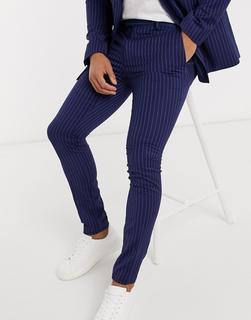 Topman - Superenge Anzughose mit Nadelstreifen in Blau