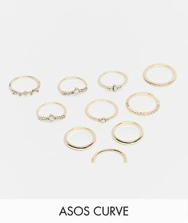 ASOS Curve - ASOS DESIGN Curve – Goldfarbene Ringe im 10er-Pack mit Opalsteinen