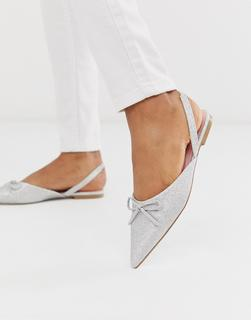 ASOS DESIGN - Lefty – Silbern glitzernde, spitze Ballerinas