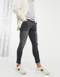 ASOS DESIGN - Superenge, knöchellange Jeans in schwarzer Vintage-Waschung