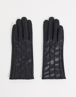 NA-KD - Handschuhe aus Kunstleder mit Nahtdetail in Schwarz