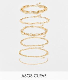 ASOS Curve - ASOS DESIGN Curve – Goldfarbene Armbänder mit verschiedenen Kettendesigns im 6er-Pack