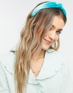ASOS DESIGN - Geknotetes Haarband aus türkisblauem Samt