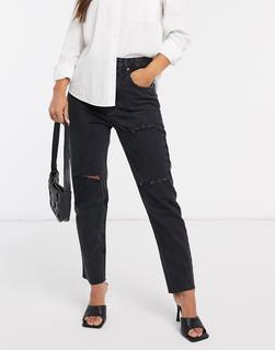 Stradivarius - Schwarze Mom-Jeans mit Zierrissen