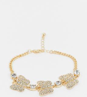 ASOS DESIGN - Curve – Goldfarbenes Armband mit Schmetterlingsanhängern mit Strassbesatz