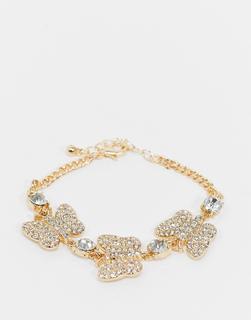ASOS DESIGN - Goldfarbenes Armband mit Schmetterlingsanhängern mit Strassbesatz