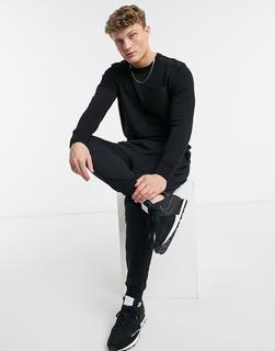 Burton Menswear - Schwarzer Pullover mit farblich abgesetzter Tasche