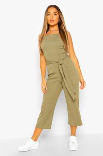 boohoo - Womens Petite Hochgeschlossener, Gerippter Culottes-Jumpsuit Mit Gürtel - Khaki - 34, Khaki