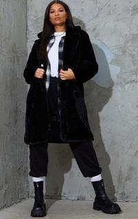 PrettyLittleThing - Black Faux Fur Pocket Front Midi Coat, Black