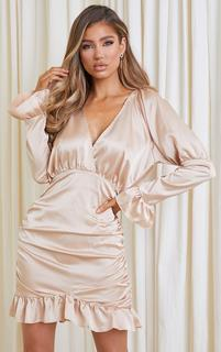 PrettyLittleThing - Champagne Satin Plunge Frill Hem Ruched Bodycon Dress, Yellow