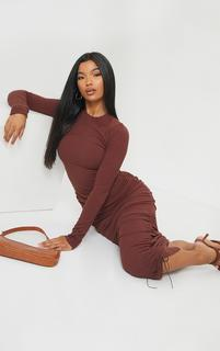PrettyLittleThing - Chocolate Brown Ribbed Long Sleeve Ruched Midi Dress, Chocolate Brown