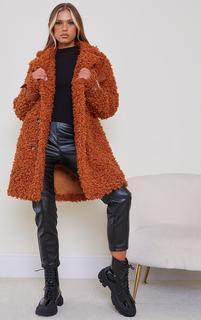 PrettyLittleThing - Camel Curly Faux Fur Coat, Camel