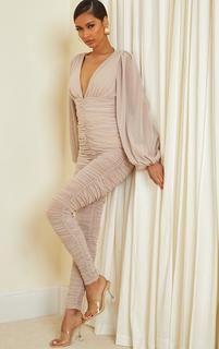 PrettyLittleThing - Stone Ruched Mesh Balloon Sleeve Plunge Jumpsuit, White