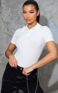 PrettyLittleThing - Cream Rib Polo Button Bodysuit, White