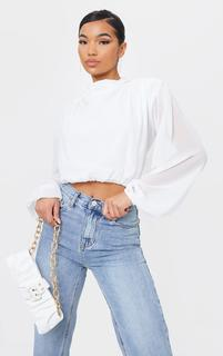 PrettyLittleThing - White Chiffon High Neck Shoulder Pad Cropped Blouse, White