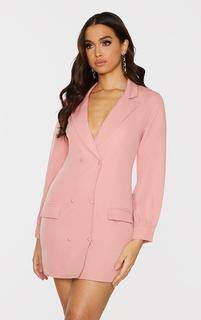 PrettyLittleThing - Rose Woven Double Breasted Blazer Dress, Pink