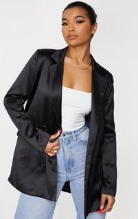 PrettyLittleThing - Black Satin Oversized Double Breasted Covered Button Blazer, Black