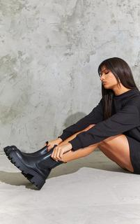 PrettyLittleThing - Black Chunky Chelsea Boots, Black