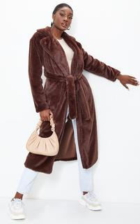 PrettyLittleThing - Tall Chocolate Belted Faux Fur Coat, Chocolate