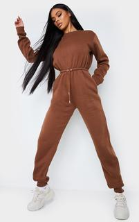 PrettyLittleThing - Chocolate Sweat Jumpsuit, Chocolate