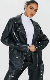 PrettyLittleThing - Black Oversized Faux Leather Zip Detail Biker Jacket, Black