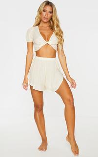PrettyLittleThing - Nude Linen Look Side Split Beach Shorts, Pink