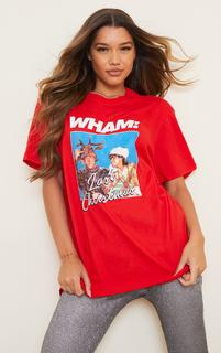 PrettyLittleThing - Red Wham Last Christmas Printed T Shirt, Red