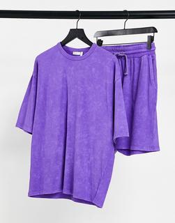 ASOS DESIGN - Lounge-Pyjamaset mit T-Shirt und Shorts in verwaschenem Lila-Violett