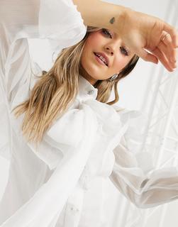 Forever U - Bluse in Elfenbein mit auffälligen Rüschen und Oversize-Ärmeln-Weiß
