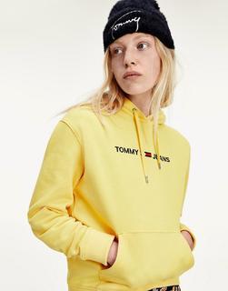 Tommy Jeans - Kapuzenpullover mit Logo auf der Vorderseite in Gelb