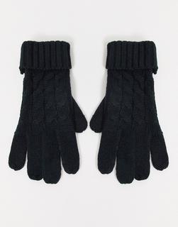Lipsy - Schwarze Strick-Handschuhe mit Zopfmuster