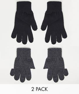 ASOS DESIGN - 2er-Pack Touch-Screen-Handschuhe aus recyceltem Polyester in Schwarz und Anthrazit-Grau