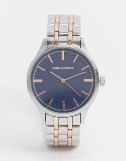 ASOS DESIGN - Armbanduhr in Silber und Gold mit blauem Ziffernblatt-Mehrfarbig