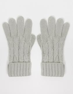 Lipsy - Strick-Handschuhe in Grau mit Zopfmuster