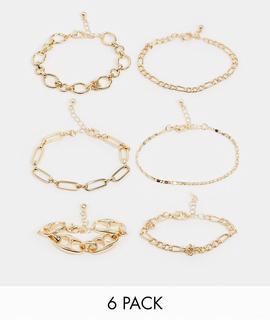 ASOS DESIGN - Goldfarbene Armbänder mit mehrlagigem Kettendesign im 6er-Pack