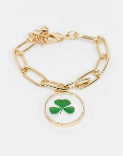 ASOS DESIGN - Armband mit Kleeblattanhänger in Gold