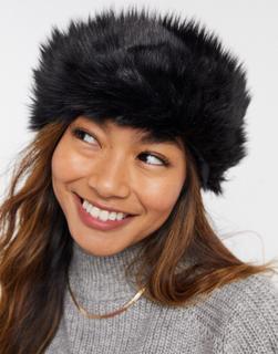 Weekday - Muzzy – Mütze mit Kunstpelzbesatz in Schwarz
